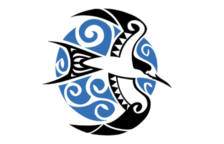 A bird in a blue circle, tribal style