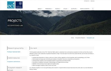 Ecosystems lab homepage screenshot