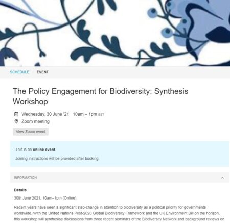 screenshot of the workshop booking page