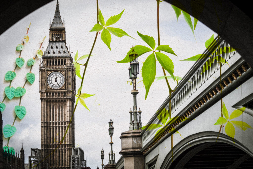 graphic of Big ben and a bridge with overlay of leaves and vines
